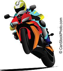 Biker on the road. Vector illustration