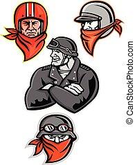 Biker Outlaw Mascot Collection - Mascot icon illustration...