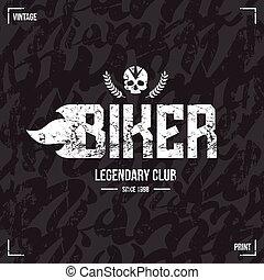 biker, padrão, clube, emblema, seamless
