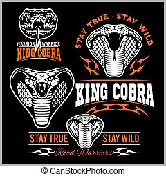 Biker patches King cobra - vector set