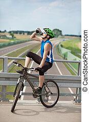 biker, picie, isotonic, napój