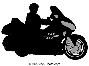 Biker race - Man on big bike on white background