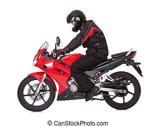 Biker rider his red motorcycle