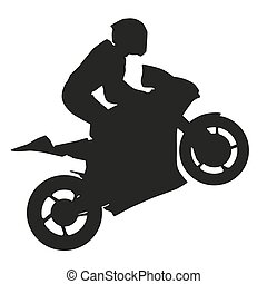 Biker rider lifts the front wheel. Vector silhouette