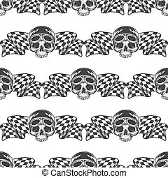 Biker rider skull and flags pattern