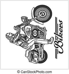 Biker riding a motorcycle drawn in hand made style. Bikers event or festival emblem.