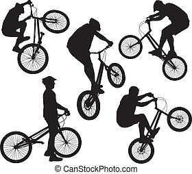 Biker silhouettes set - Bike trick detailed vector...