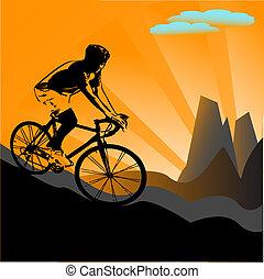 biker, silueta