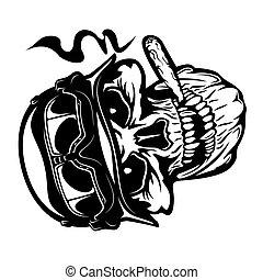 Biker skull in motorcycle helmet smoking a cigar - vector illustration