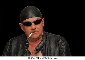 biker smoking