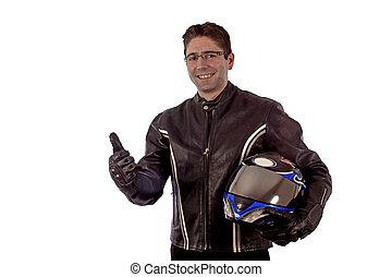 biker, sorrindo
