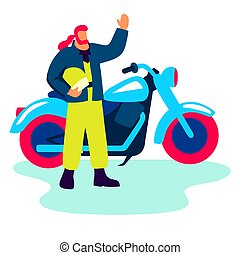biker stands next to a motorcycle. color flat illustration on white