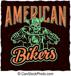 Biker t-shirt label design with illustration of skeleton riding on motorbike