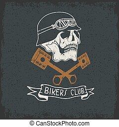 biker, tema, etiqueta, com, pistões, e, crânios