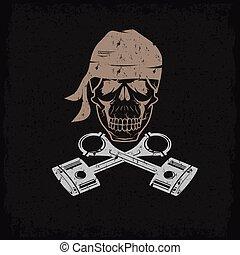 biker, tema, grunge, etiqueta, com, cranio, e, pistões