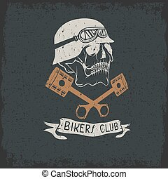 biker theme label with pistons and skulls