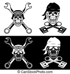 biker theme labels with skull ,wrenches and pistons