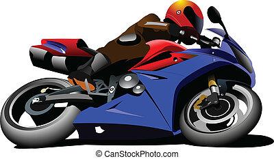 biker., vec, motocicleta, road.