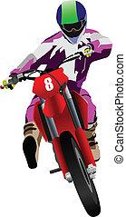 biker., vec, motocyclette, road.