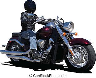 biker., vektor, ábra