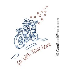 Biker with his girlfriend on the road vector illustration