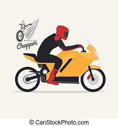 Biker with motorcycle and logotype