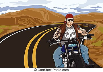Biker with tattoo - A vector illustration of biker with...