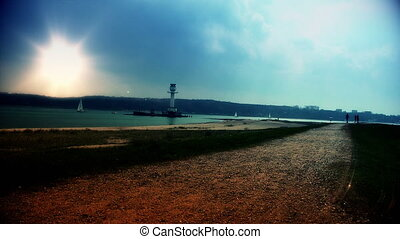 biker, zachód słońca, latarnia morska