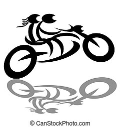 Biker couple extremely ride motorcycle, black silhouette isolated over white background