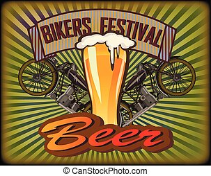Bikers Festival retro , vector .Beer
