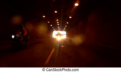 Bikers in a tunnel