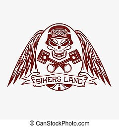 bikers land crest with skull, wings and pistons