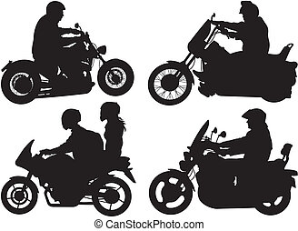 bikers, motorcyclists - silhouettes - people ride ...