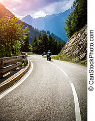 Bikers on mountainous race