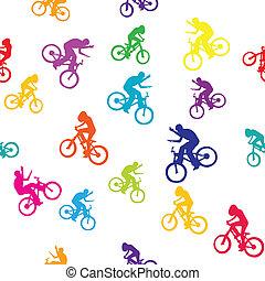 bikers, patrón, coloreado