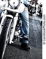 Bikers riding motorbikes - Image of bikers riding motorbikes...