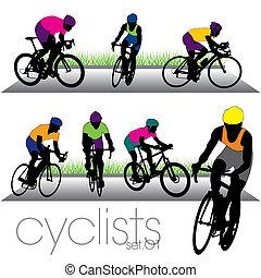 bikers, siluetas, conjunto