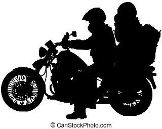 bikers, sylwetka, motocykl