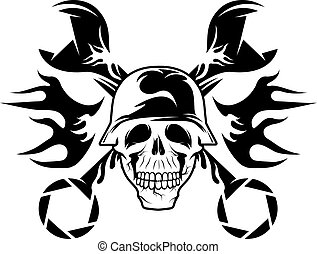 bikers theme emblem with skull, flames and wrenches
