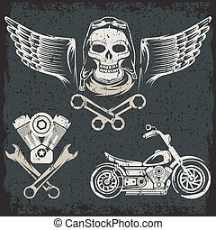 bikers theme grunge labels with motorbike, skull, engine and pistons