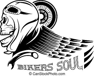 bikers theme label with skull,wheel and wing