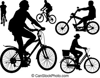 Bikers vector collection - Five persons riding bicycles....