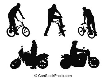 bikers vs motorcyclists - isolated young adult on white ...