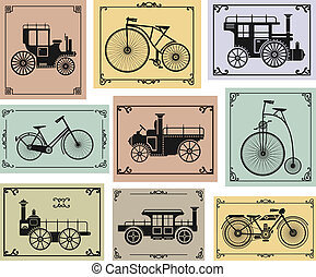 Bikes and cars - Vector set of old bikes and cars on a...