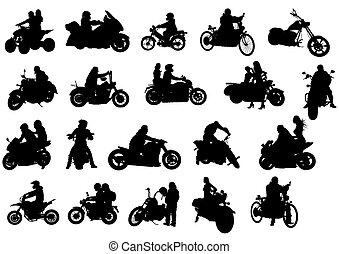 Bikes - Silhouettes of moto bike whit people