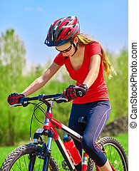 Bikes cycling girl wearing helmet. - Portrait of bicycle ...