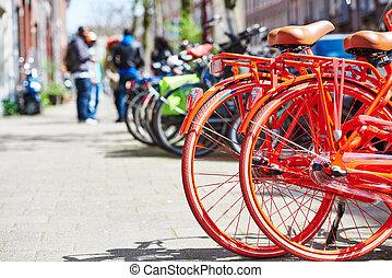 bikes on street in city