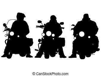 Bikes parade - Motorcyclist in sportswear on white ...