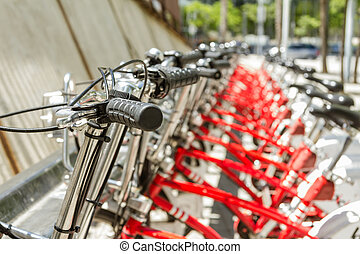 Bikes parked on the street in Barcelona, Spain