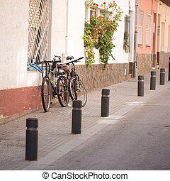 Bikes parked on the street